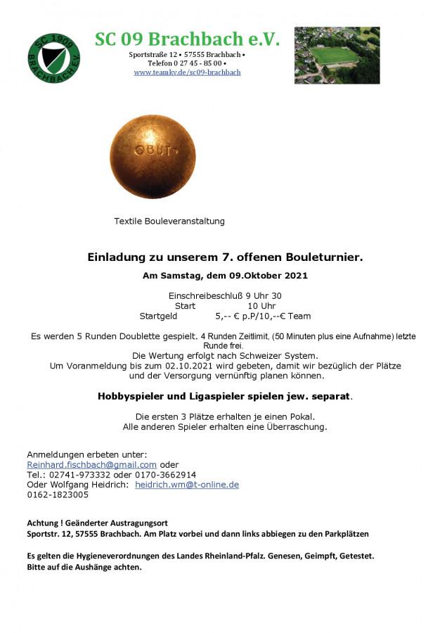 Ausschreibung Boule Herbstturnier 09.10.2021